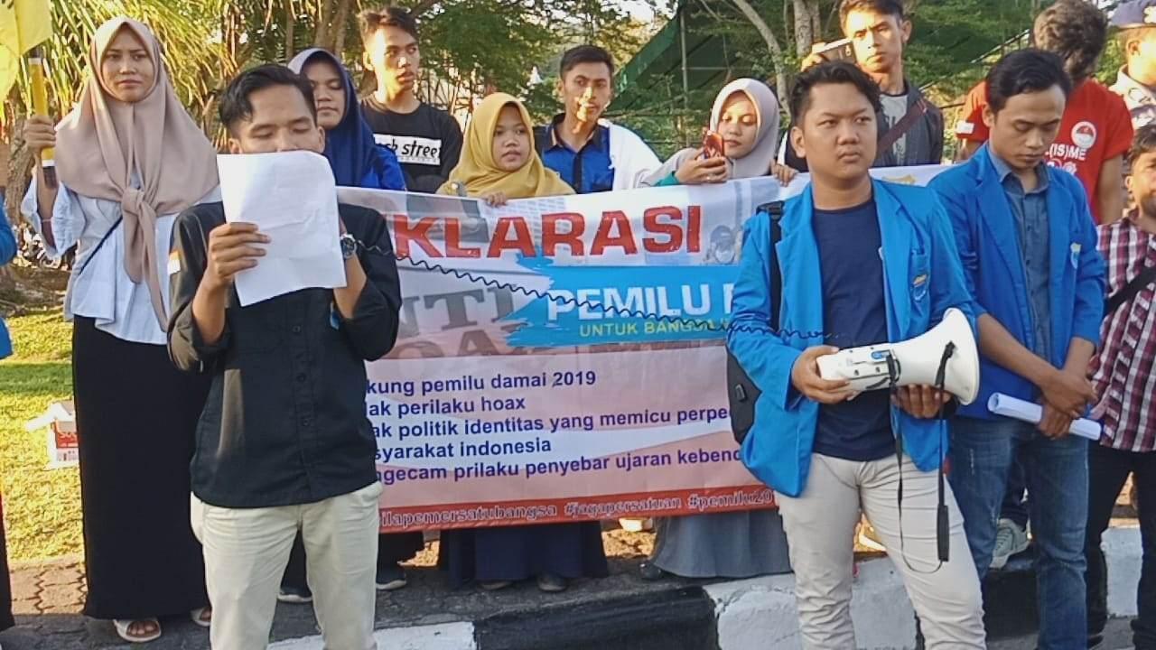 Aksi Damai & Deklarasi  Dukungan Pemilu 2019 Yang Aman, Damai Oleh Ormas Pergerakan  Mahasiswa Islam Indonesia (PMII)  Cabang Balikpapan.