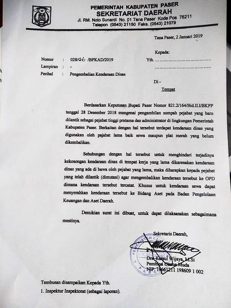 BPKAD Keluarkan Edaran Pejabat Eselon II dan Administrator Yang di Mutasi Wajib Mengembalikan Mobil Sewa Maupun Plat Merah