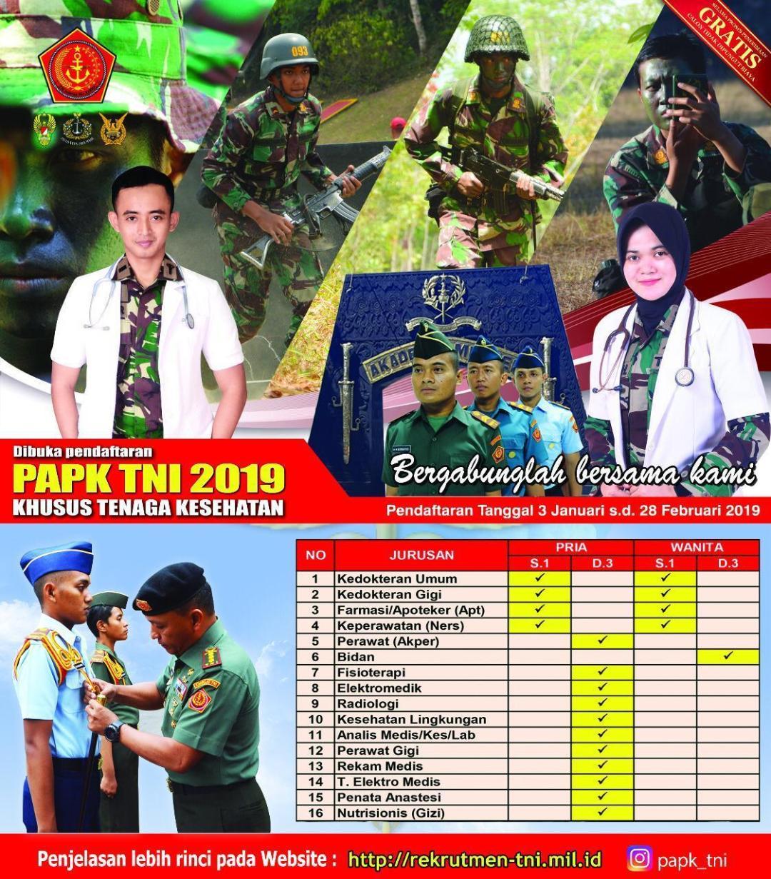 PENERIMAAN CALON PERWIRA KARIER TNI 2019 (KHUSUS TENAGA KESEHATAN)