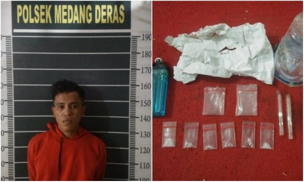 Unit Reskrim Reskrim Polsek Medang Deras Amankan Tersangka Penyalaguna Narkotika