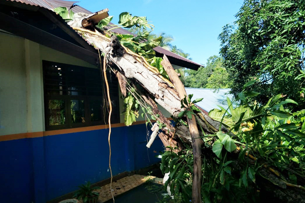 Bencana Alam di Manganitu, Pohon Tumbang Timpa Ruang Kepsek SMP N 3