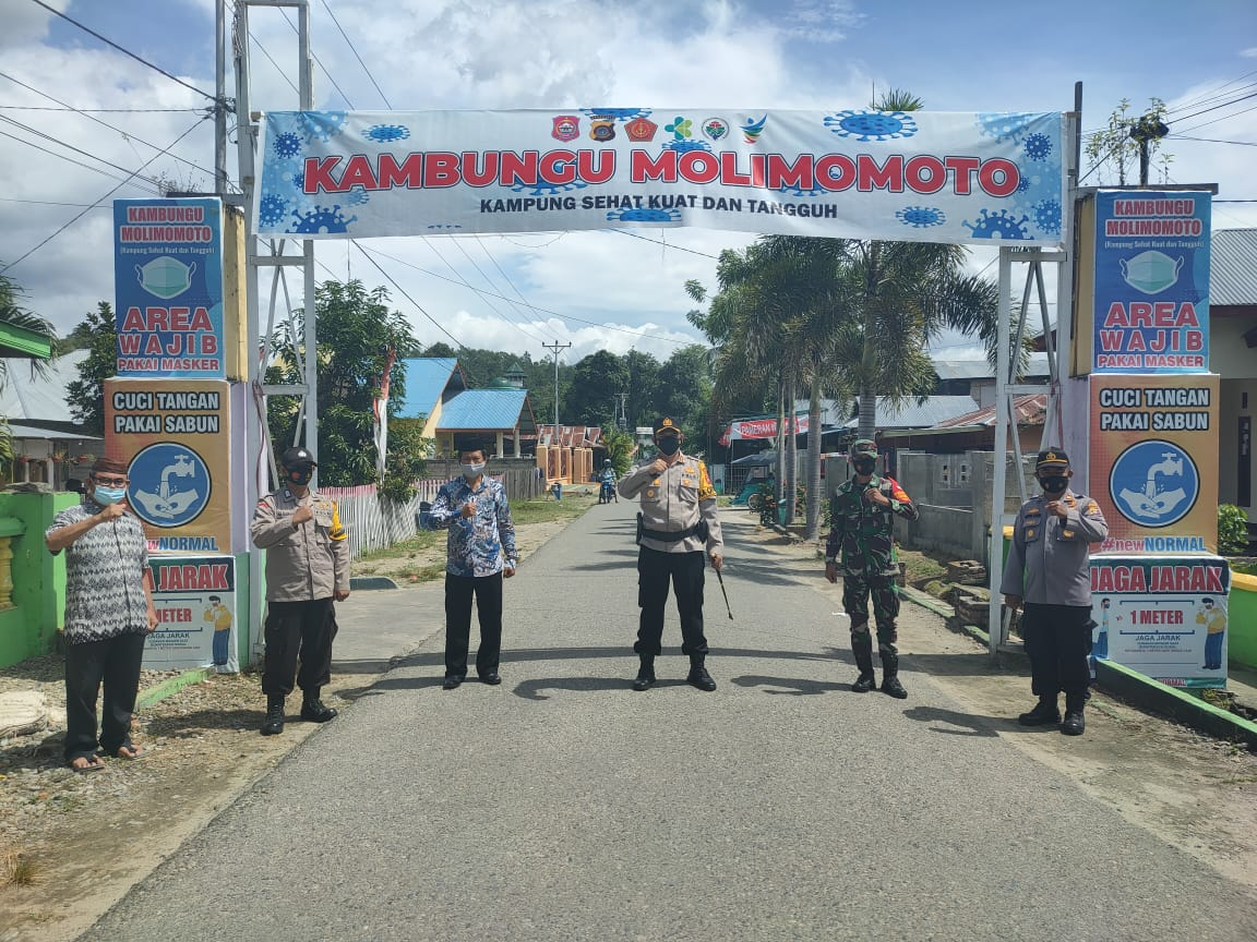 Tindaklanjuti PPKM Berskala Mikro, Polres Bone Bolango & Aparat Pemerintah Jadikan Desa Talulobutu Sebagai Pilot Project Kampung Tangguh.