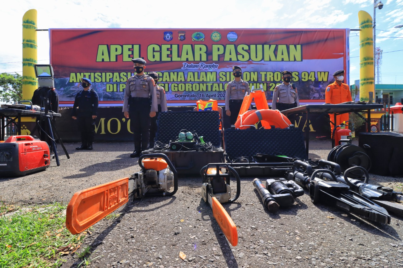 Polda Gorontalo & Tagana Gelar Apel Kesiapsiagaan Siklon Tropis