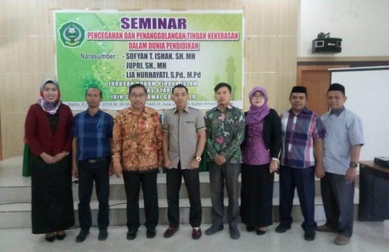 200 Mahasiswa IAIN Sultan Amai Gorontalo Ikuti Seminar Pencegahan & Penanggulangan Tindak Kekerasan Dalam Dunia Pendidikan.