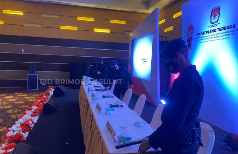 Brimob Polda Sulut Lakukan Strerilisasi Jelang Rapat Pleno Penetapan Paslon Walikota dan Wakil Walikota Manado